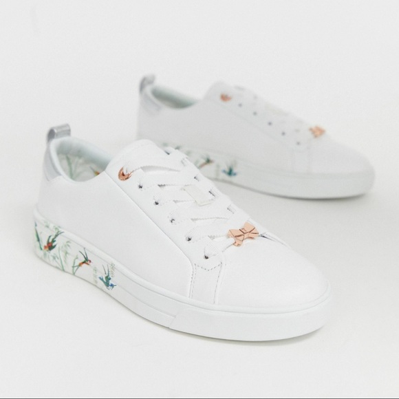 Floral Sole Leather Trainers 10